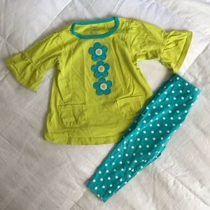 Carters 18 mo lime green blue/green outfit